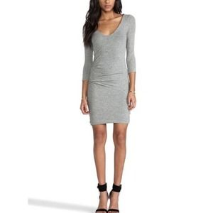 James Perse Double V-Neck Tuck Dress Grey Size 3